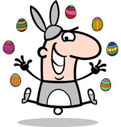 man in easter bunny costume cartoon vector image vector image