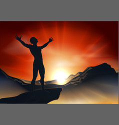 Man on mountaintop with arms out vector