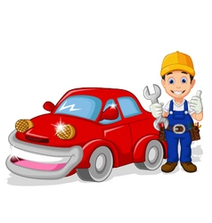 Mechanic cartoon with car for you design vector