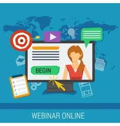 Online webinar e-learning professional lectures vector