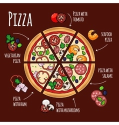 Pizza ingredients for pizza menu vector