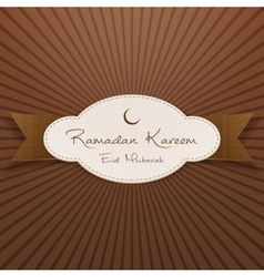 Ramadan kareem eid mubarak emblem with ribbon vector