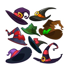 Set of halloween witch hats icons vector