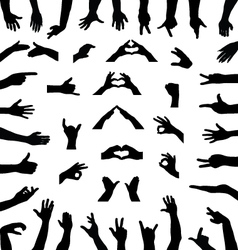 silhouettes of hands vector image vector image