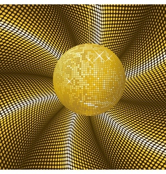 Sparkling gold disco ball vector image