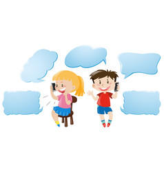 speech bubble template with kids talking on phone vector image