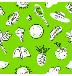 summer seamless pattern doodle background with vector image vector image