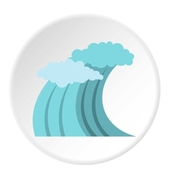 Surfer blue wave icon flat style vector