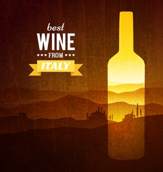 Wine bottle with the landscape of Tuscany vector image vector image