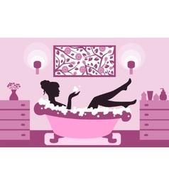 woman relaxing in bath foam vector image vector image