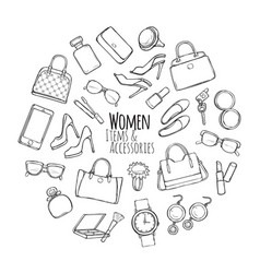 women items and accessories collection of things vector image vector image