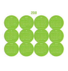 year 2018 calendar with months in green circle vector image vector image