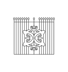 Metal grid with emblem fencing design vector