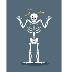 Surprised skeleton says oops perplexed skull vector