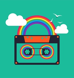Music rainbow cassette abstract background vector