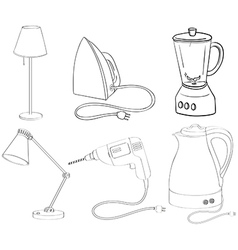 Silhouettes of appliances vector