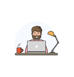 Happy man with beard working on computer vector