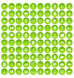 100 renovation icons set green circle vector