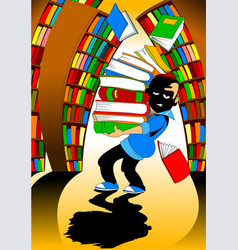 student in the library vector image