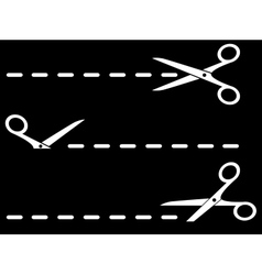 Isolated scissors with dotted line on black vector