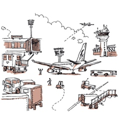 Aiport doodles vector