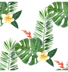 Watercolor tropical plants seamless vector