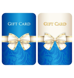 Blue vertical gift card with damask ornament and vector
