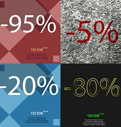 5 20 80 icon set of percent discount on abstract vector