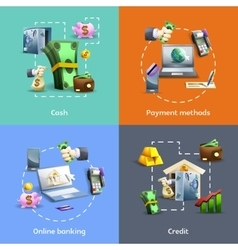 Banking and payment icons set vector