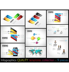 Collection of 9 quality infographic templates vector