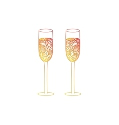 Champagne glass with abstract doodle pattern vector
