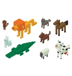 Animal 3d isometric icons collection vector image