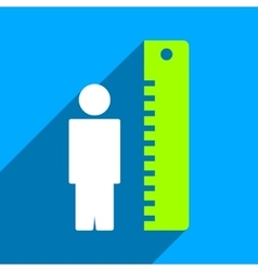 Man height meter flat square icon with long shadow vector