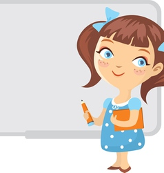 School girl whiteboard isolated vector
