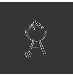 Kettle barbecue grill Drawn in chalk icon vector image