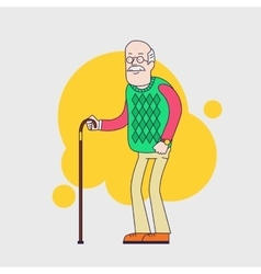 Old man with glasses mustache and walkins cane vector