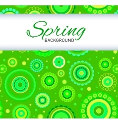 Postcard with green seamless pattern vector