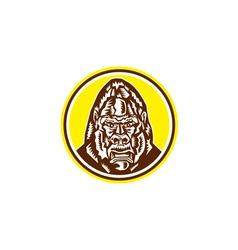 Angry gorilla head circle woodcut retro vector
