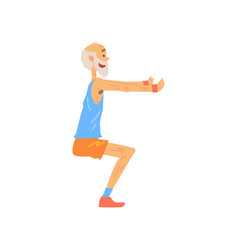 Athletic old man doing squat exercise cartoon vector