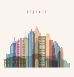Atlanta state georgia skyline detailed silhouette vector