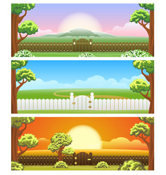 Backyard cartoon background set vector