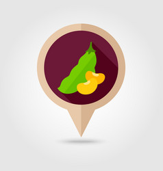 beans flat pin map icon vegetable vector image vector image