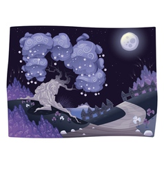 Bucolic nightly landscape on the sea vector