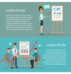 Businessman and woman making a presentation in vector image vector image
