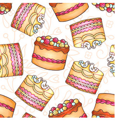 Cakes seamless pattern pastry and vector