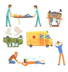 Car road accident resulting in people health vector