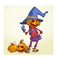 Cartoon pumpkin scarecrow halloween vector