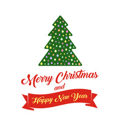 christmas tree and text merry christmas and happy vector image