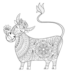 Coloring page with cow zenart stylized hand vector