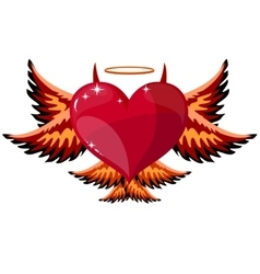 Devilish Heart With Horns And Wings vector image